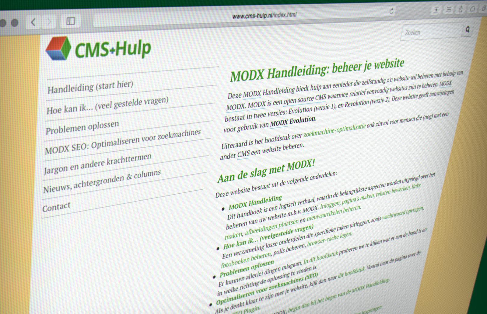Cms hulp.nl: handleiding contentbeheer met modx pixelxp